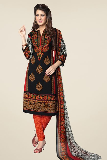 Salwar Studio Black & Orange Synthetic Dress Material