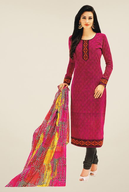 Salwar Studio Pink & Grey Printed Dress Material