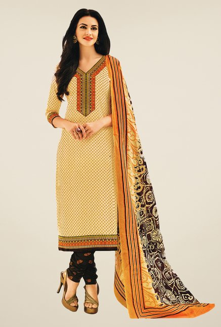 Salwar Studio Fawn & Dark Brown Printed Dress Material