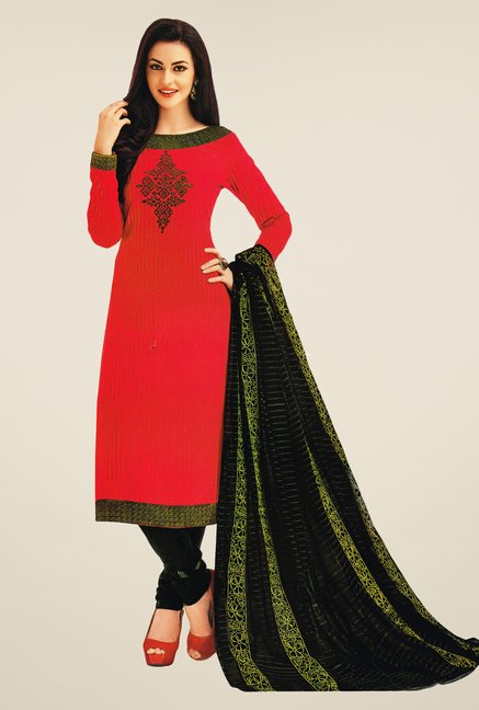 Salwar Studio Red & Black Striped Dress Material