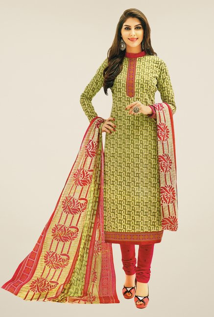 Salwar Studio Green & Pink Printed Dress Material