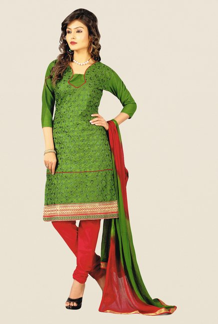 Salwar Studio Green & Red Embroidered Cotton Dress Material