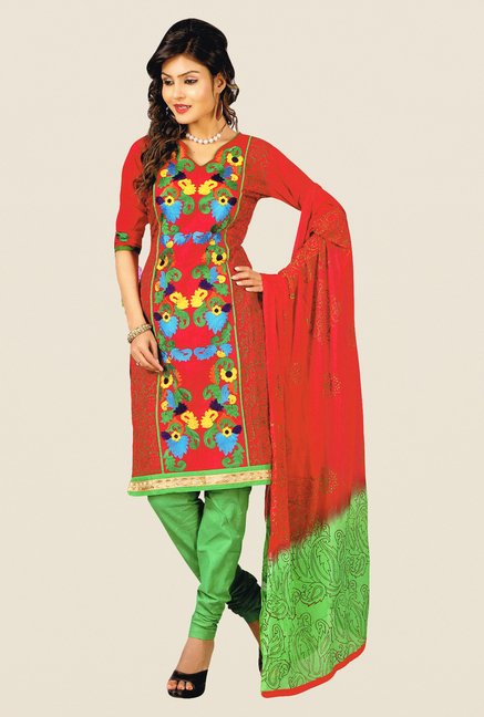 Salwar Studio Red & Green Embroidered Dress Material