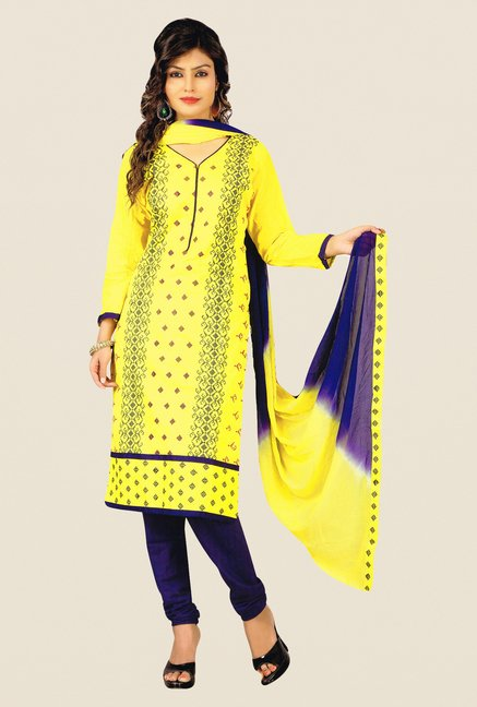 Salwar Studio Yellow & Dark Blue Embroidered Dress Material