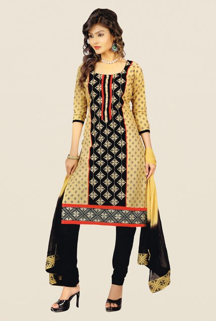 Salwar Studio Black & Beige Free Size Dress Material