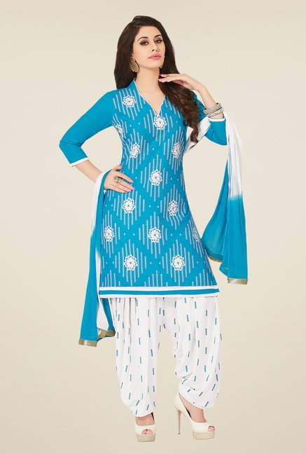 Salwar Studio Sky Blue & White Dress Material