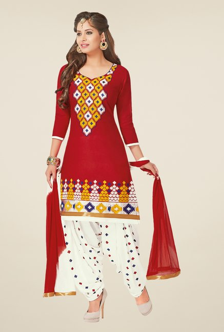 Salwar Studio Red & White Dress Material