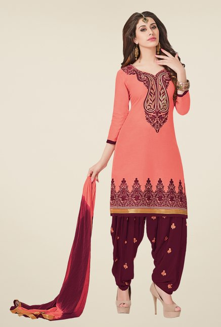 Salwar Studio Peach & Wine Red Dress Material