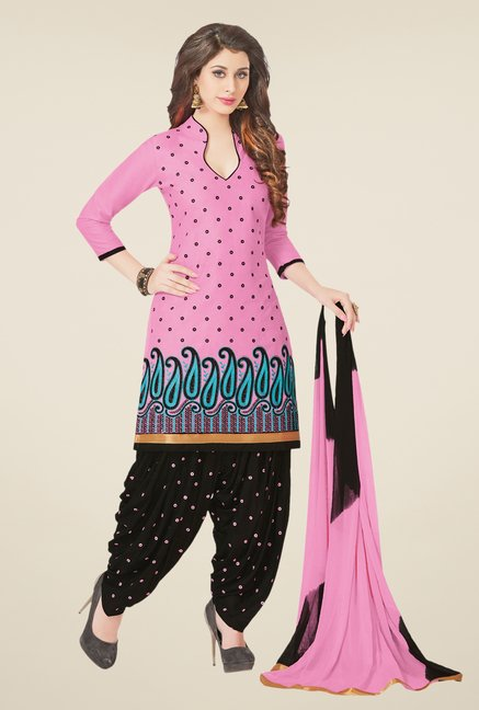 Salwar Studio Pink & Black Dress Material