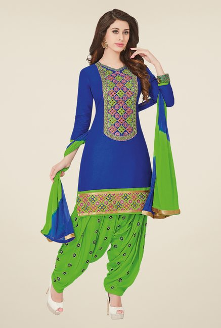 Salwar Studio Blue & Green Free Size Dress Material