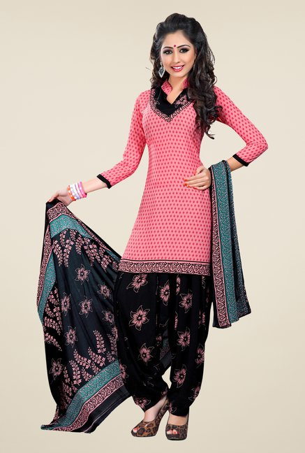 Salwar Studio Light Pink & Black Printed Dress Material