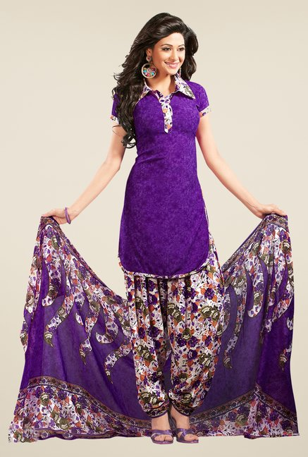 Salwar Studio Violet & Off White Printed Dress Material