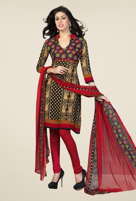 Salwar Studio Multicolor Printed Synthetic Dress Material
