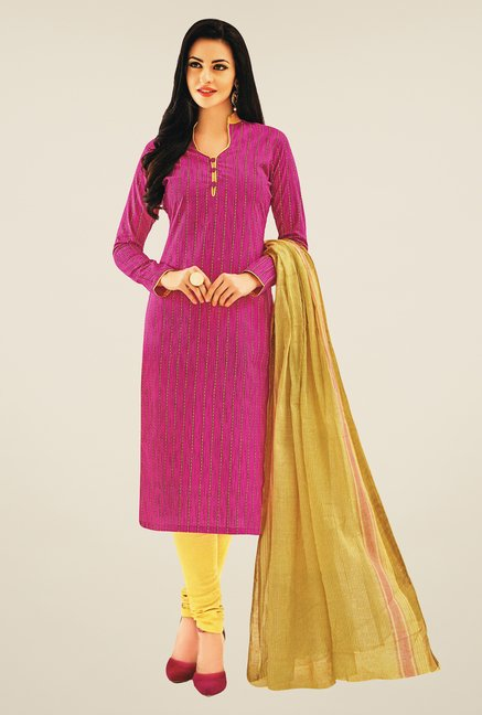 Salwar Studio Pink & Cream Striped Dress Material