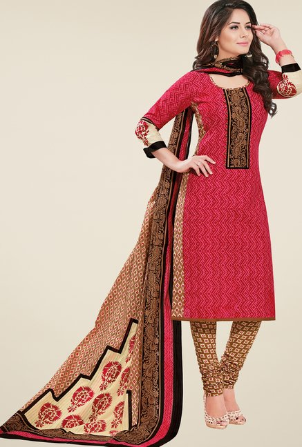 Salwar Studio Red & Brown Printed Dress Material