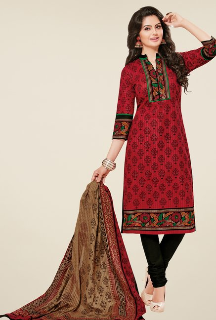 Salwar Studio Red & Black Printed Dress Material