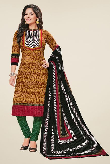 Salwar Studio Yellow & Green Printed Dress Material