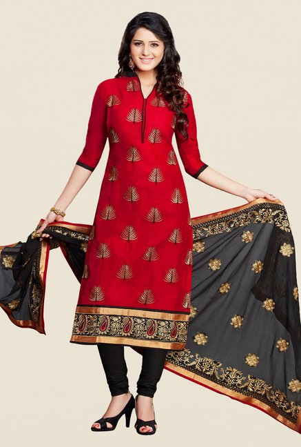 Salwar Studio Maroon & Black Karachi Dress Material
