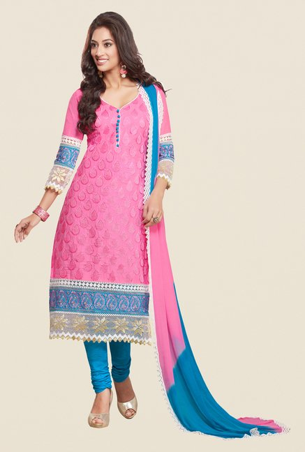 Salwar Studio Pink & Sky Blue Karachi Dress Material