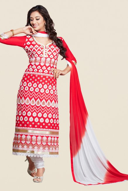 Salwar Studio Red & White Karachi Embroidered Dress Material
