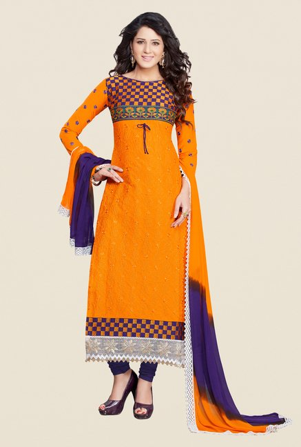 Salwar Studio Orange & Violet Karachi Dress Material