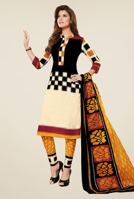 Salwar Studio Black & Mustard Dress Material