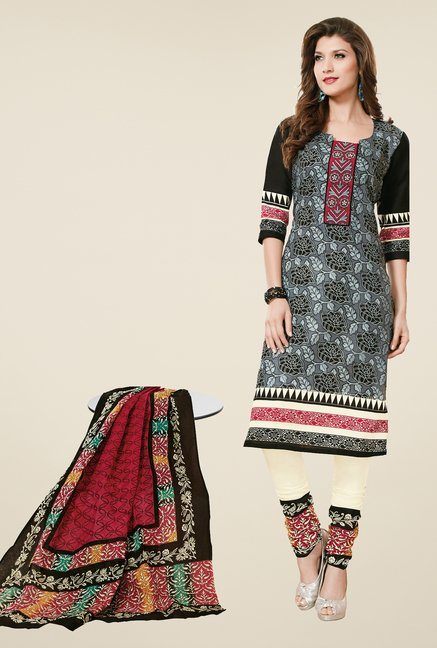 Salwar Studio Grey & Cream Dress Material