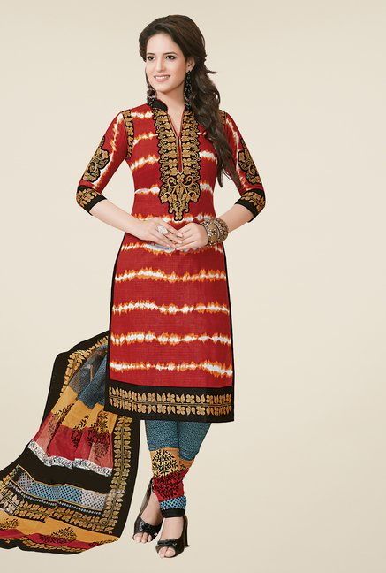 Salwar Studio Red & Grey Dress Material