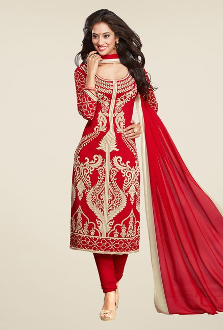 Salwar Studio Red & Beige Printed Synthetic Dress Material