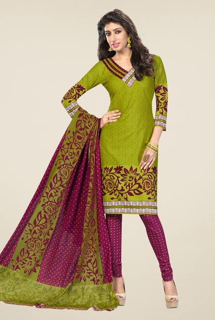 Salwar Studio Green & Magenta Printed Dress Material