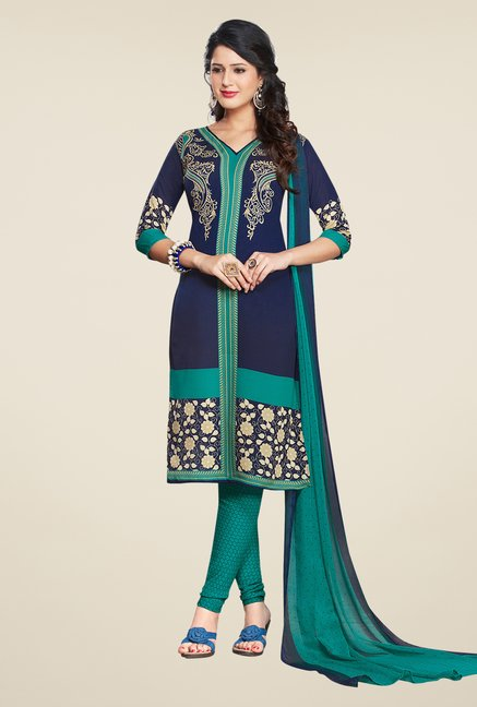 Salwar Studio Dark Blue & Rama Green Printed Dress Material