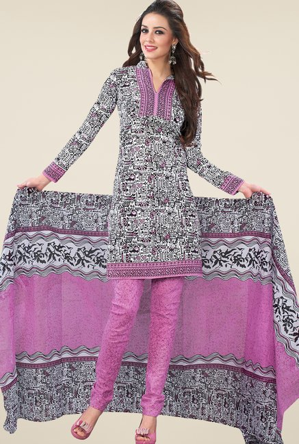 Salwar Studio Pastel Pink & White Printed Dress Material