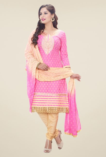 Salwar Studio Pink & Cream Embroidered Dress Material
