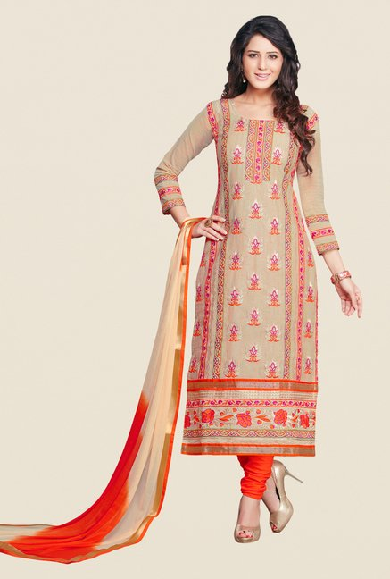 Salwar Studio Beige & Orange Karachi Dress Material