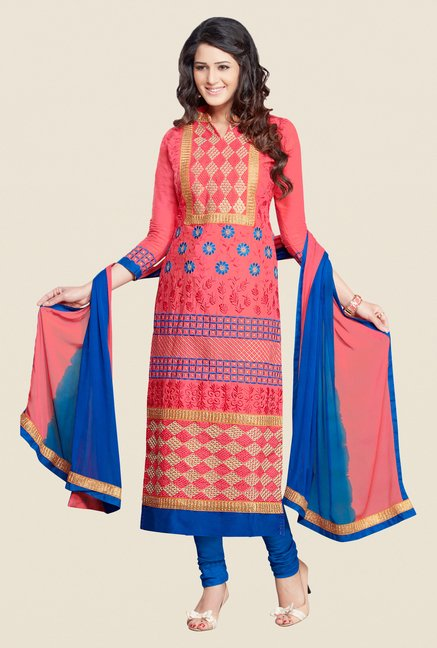 Salwar Studio Pink & Blue Karachi Embroidered Dress Material