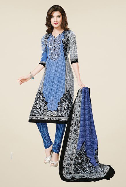 Salwar Studio Blue & White Regular Wash Dress Material