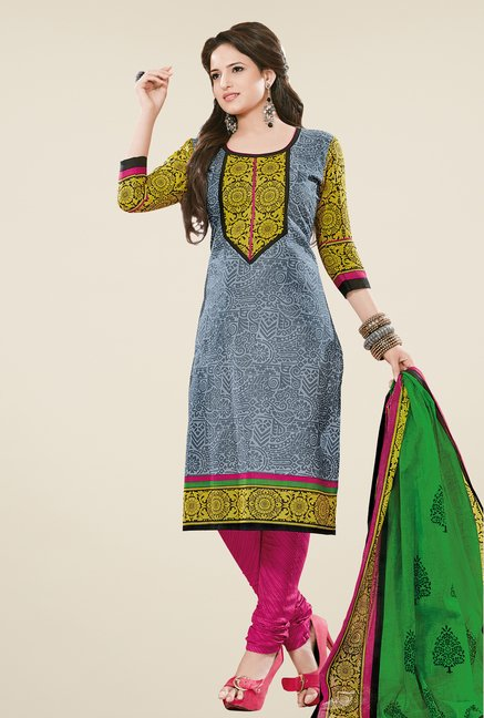 Salwar Studio Grey & Pink Dress Material