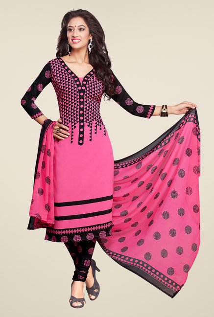 Salwar Studio Pink & Black Printed Dress Material