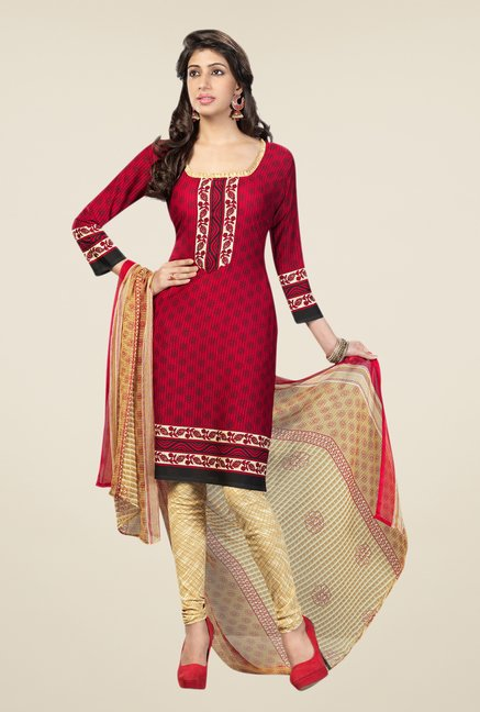 Salwar Studio Red & Beige Printed Free Size Dress Material