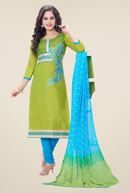 Salwar Studio Green & Blue Embroidered Dress Material