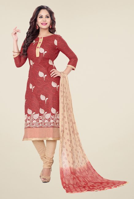 Salwar Studio Maroon & Beige Embroidered Dress Material