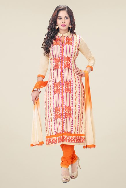 Salwar Studio Fawn & Orange Embroidered Dress Material