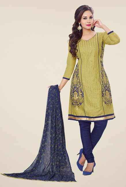 Salwar Studio Olive & Blue Embroidered Dress Material