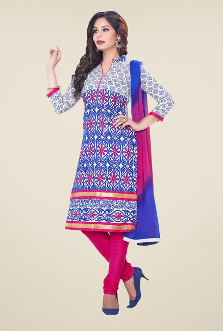Salwar Studio Blue & Pink Embroidered Dress Material