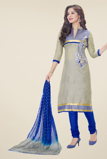 Salwar Studio Ash Grey & Blue Embroidered Dress Material