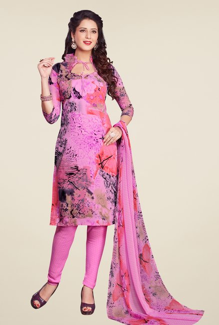 Salwar Studio Pastel Pink Printed Synthetic Dress Material