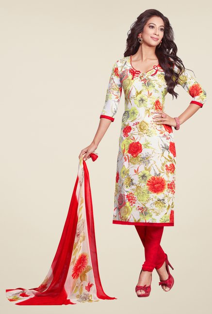 Salwar Studio White & Red Printed Cotton Dress Material