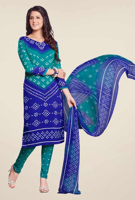 Salwar Studio Blue & Green Bandhani Printed Dress Material