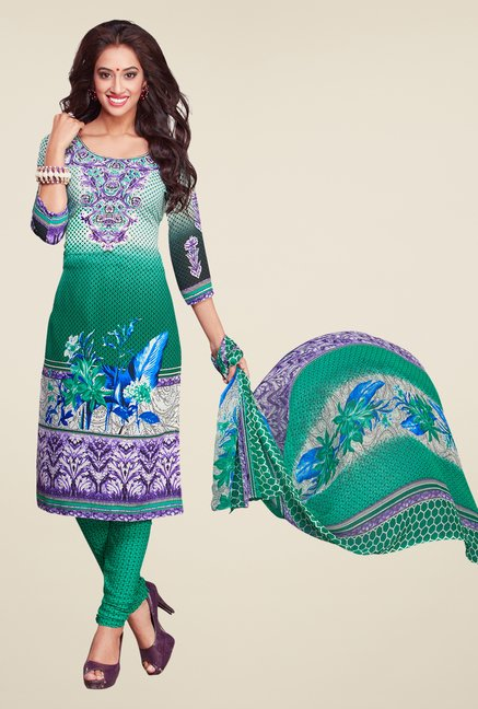 Salwar Studio Green & White Printed Dress Material