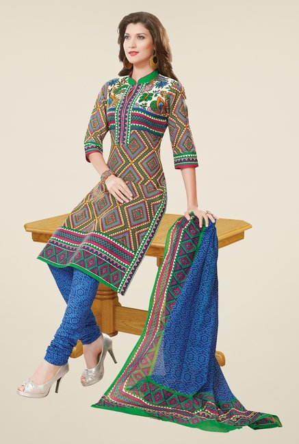 Salwar Studio Multicolor & Blue Dress Material